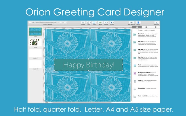Orion Greeting Card Designer 2.90 (Mac OSX)