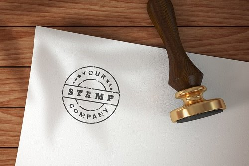 Stamp on paper - mockup template - 6120076